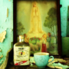 a small altar with rum