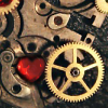 Steampunk gears with red heart jewel