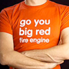 t-shirt with text: Go you big red fire engine