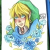 Link from LoZ with blue flowers