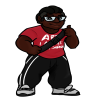 Black woman with locks, a red shirt, black sweats with white stripes,giving  a thumbs up and smiling