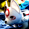 Head shot view of Okami Wolf Plush