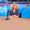 "Britta from ""Community"" looking surly at the pool."
