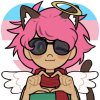 A pink-haired catgirl with angel wings and a halo, wearing a scarf and sunglasses, making a heart with its hands.