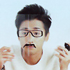 ohno satoshi with drawn on glasses