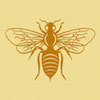 honeybee - filigree silhouette in orange on yellow background