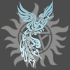 A blue phoenix spreading its wings before the backdrop of the Supernatural anti-possession symbol