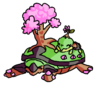 a torterra - a large turtle with a pink sakura tree and three small spikes on its back - lying down, with a smaller turtwig on its back beside the tree