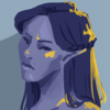 a digital 3/4 bust of an elf in primarily blues with yellow highlights. the elf has long hair, half of which is tied up, and she's looking somberly to the side.