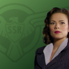 Image of Peggy Carter on a green background with the SSR logo.