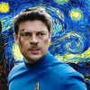 bones mccoy with a cool van gogh background