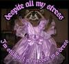 """a grainy photo of a raccoon in a purple dress with the words """"despite all my stress, I'm still just a raccoon in a dress"""" in a magenta gothic font."""