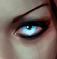 A feminine, glowing blue eye - supernatural and piercing