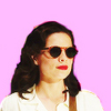 Peggy Carter looking to the right with sunglasses