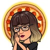 Bitmoji with a brown bob and bangs, hands clasped in prayer, surrounded by pizza