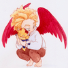 A young Hawks is holding his Endeavor plushy close to his chest.