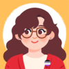 Cartoon rendition of hullosweetpea:a woman with a round face, brown rounded square glasses, long wavy brunette hair and brown eyes. she wears a red cardigan and a white t-shirt. the cardigan has a tiny asexual flag button. the background is orange