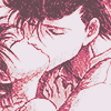 Hiei and Kuwabara kissing, tenderly