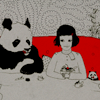 Red and grey art of girl drinking tea with panda.