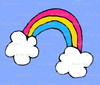 Cartoon Rainbow that has Pan colors and clouds at each end