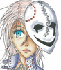 a reddish white haired girl gazing at the upper left corner of the picture with kristal blue eyes and a plain, broken mask that smiles even though it cries, which is scared like her own face