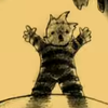 a blurry image of a boy standing up high, his arms raised. he is on fire. the image is a simple drawing in yellow and black