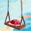 a drawing of a plate of jello, resting atop a wooden swing. The background is colorful clouds.