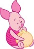 Piglet from Winnie The Pooh drinking, with a Straw, from a citrus fruit