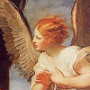 baroque-style painting of an angel, in profile