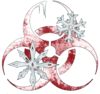 A red biohazard symbol, colored to look like frost and ice have covered the surface. Two snowflakes hang in front of the symbol.