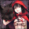 Little Red Riding Hood looking sexy and evil with her Big Bad Wolf