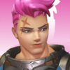 Zarya from the game Overwatch from the neck up, there's a pink gradient background.