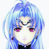 KOS-MOS, a military gynoid robot from the video game Xenosaga.  Her expression is blank and sad.