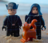 Lego minifigs of Hux, Kylo Ren, and Millicent.