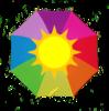 rainbow umbrella with sun in the center