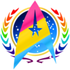 A gold Star Wars Jedi Order insignia overlays a pink Rebel Alliance crest. A blue Star Trek Federation logo wreathed by a rainbow laurel wreath is in the background. The colors stand for the pansexual pride flag and the gay pride flag.