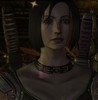 Brynn Cousland, my rogue Warden from Bioware's Dragon Age Origins. She is a Caucasian young woman with short dark hair and wide grey-blue eyes in dark leather armor.