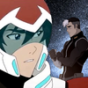Keith gazing over his shoulder at a pensive Shiro with stars in the background.