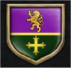 Coat of Arms - Per fess purpule and vert, a fess between a lion rampant and a cross of Malta (all) Or (heraldry description provided by Kathy Kemmish, a friend) - Created in Crusader Kings 2 Ruler Designer DLC function
