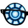 Geeky glasses with an arc reactor.