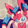 A sylveon sparkling in the moonlight