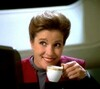 Captain Janeway from Star Trek Voyager enjoying a cup of coffee
