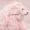 a pink lion with the words 'iamdollie' in the middle. the 'i' sits in the middle of a triangle.