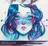 Watercolors of a girl's face with blue and purple hair; stars and planets float around her and dust the arch of her nose like freckles.