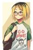 Kenma from haikyuu wearing glasses and a snarky t shirt