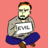 "traumschwinge's icon - a grumpy bearded man holding up a sign with the word ""evil"" on it"