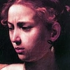 """Judith's face from Caravaggio's """"Judith beheading Holofenes"""" - Portrait of a woman looking disgusted by something."""
