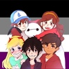 Dipper and Mabel Pines (Gravity Falls), Star Butterfly and Marco Diaz (Star vs the Forces of Evil), and Hiro Hamada and Baymax (Big Hero 6) in front of the ace flag