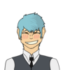 Blue haired art of a man smiling at the camera, in a simple suit