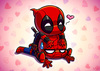 chibi deadpool sitting on a chibi spiderman, lots of hearts